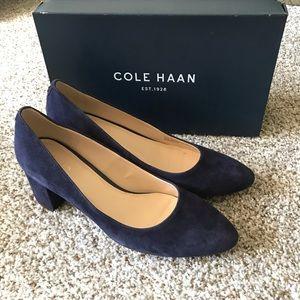 NWOT Cole Haan navy suede heels